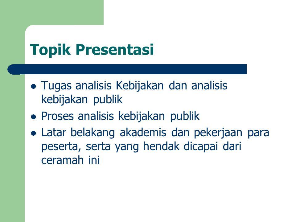 Agenda Topik-topik yang harus dicakup dam lokakarya Analisis Kebijakan adalah : (a) Perumusan Masalah Kebijakan; (b) Prakiraan Masa Depan; (c) Rekomendasi; (d) Monitoring; dan (e) Evaluasi Kinerja Kebijakan Masing-masing topik akan dibahas dalam 2 sessi