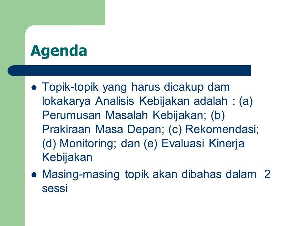 Agenda Topik-topik yang harus dicakup dam lokakarya Analisis Kebijakan adalah : (a) Perumusan Masalah Kebijakan; (b) Prakiraan Masa Depan; (c) Rekomen
