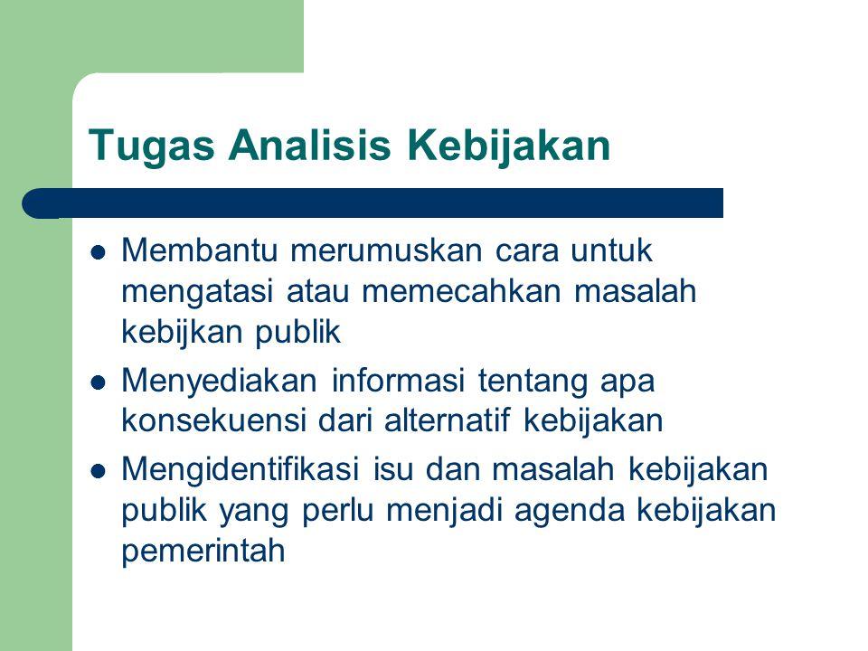 Tugas Analisis Kebijakan Membantu merumuskan cara untuk mengatasi atau memecahkan masalah kebijkan publik Menyediakan informasi tentang apa konsekuens