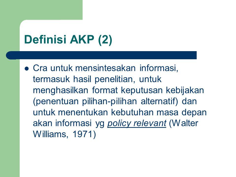 Definisi AKP (2) Cra untuk mensintesakan informasi, termasuk hasil penelitian, untuk menghasilkan format keputusan kebijakan (penentuan pilihan-piliha