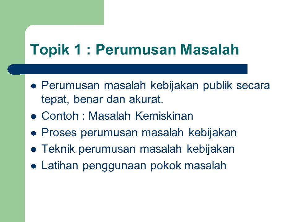 Topik 1 : Perumusan Masalah Perumusan masalah kebijakan publik secara tepat, benar dan akurat. Contoh : Masalah Kemiskinan Proses perumusan masalah ke