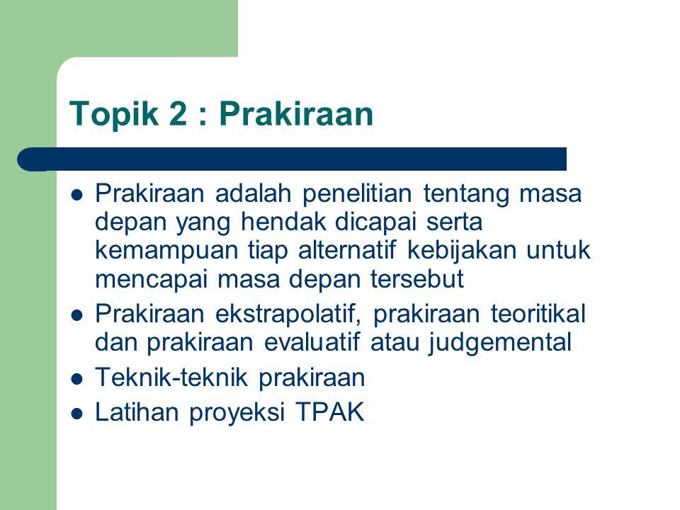 Topik 2 : Prakiraan Prakiraan adalah penelitian tentang masa depan yang hendak dicapai serta kemampuan tiap alternatif kebijakan untuk mencapai masa d