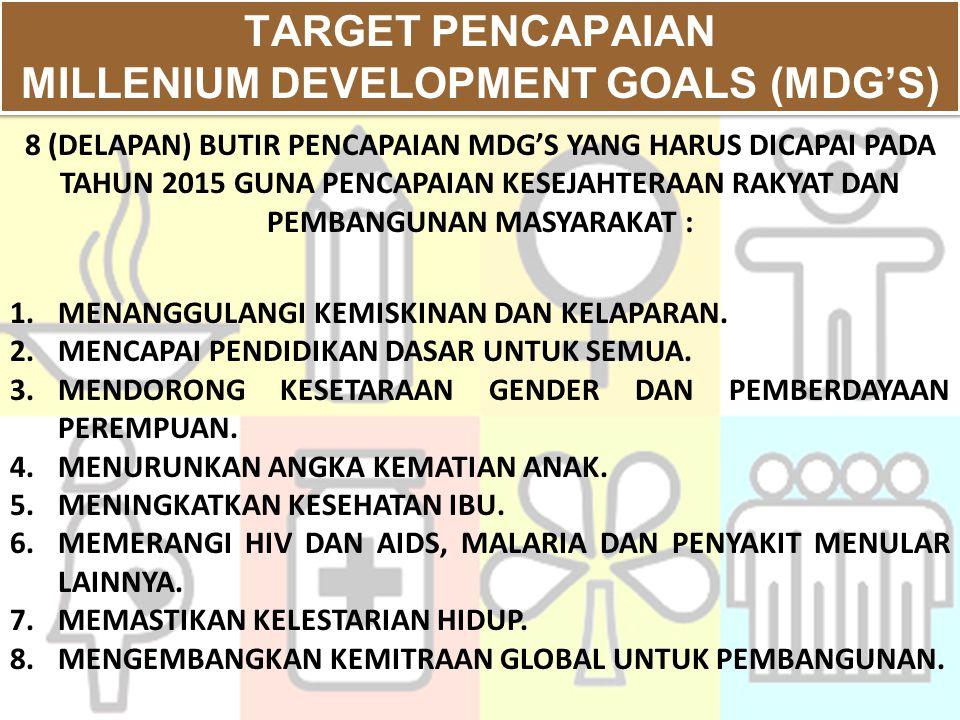 TARGET PENCAPAIAN MILLENIUM DEVELOPMENT GOALS (MDG'S) TARGET PENCAPAIAN MILLENIUM DEVELOPMENT GOALS (MDG'S) 1.MENANGGULANGI KEMISKINAN DAN KELAPARAN.