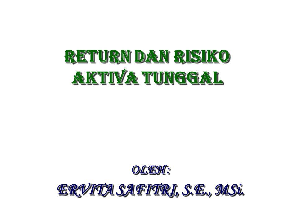 Return dan risiko AKTIVA TUNGGAL OLEH : ERVITA SAFITRI, S.E., MSi. OLEH : ERVITA SAFITRI, S.E., MSi.