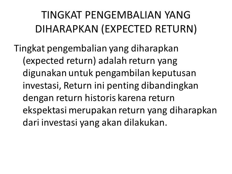 TINGKAT PENGEMBALIAN YANG DIHARAPKAN (EXPECTED RETURN) Tingkat pengembalian yang diharapkan (expected return) adalah return yang digunakan untuk penga