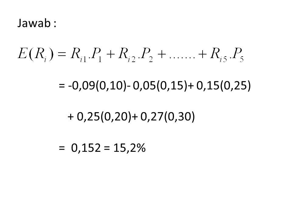 Jawab : = -0,09(0,10)- 0,05(0,15)+ 0,15(0,25) + 0,25(0,20)+ 0,27(0,30) = 0,152 = 15,2%