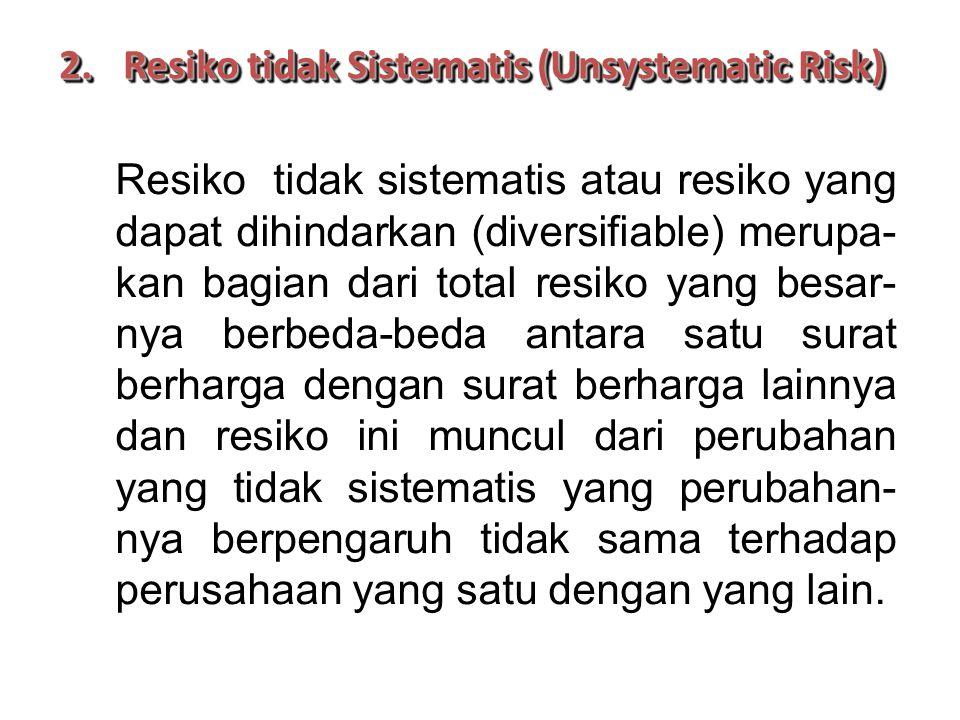 2.Resiko tidak Sistematis (Unsystematic Risk) Resiko tidak sistematis atau resiko yang dapat dihindarkan (diversifiable) merupa- kan bagian dari total