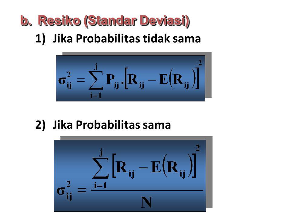 1)Jika Probabilitas tidak sama 2)Jika Probabilitas sama b.Resiko (Standar Deviasi)