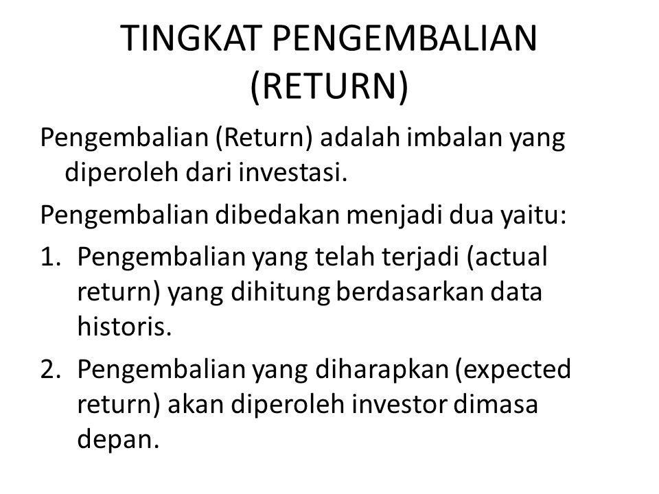 TINGKAT PENGEMBALIAN (RETURN) Pengembalian (Return) adalah imbalan yang diperoleh dari investasi. Pengembalian dibedakan menjadi dua yaitu: 1.Pengemba