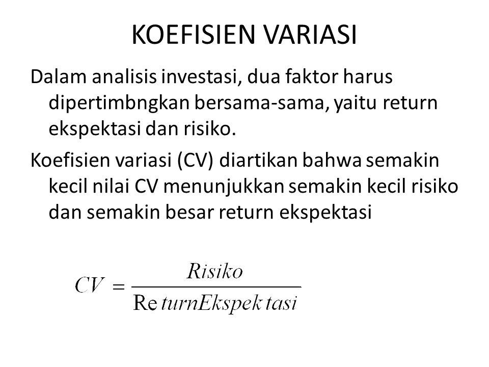 KOEFISIEN VARIASI Dalam analisis investasi, dua faktor harus dipertimbngkan bersama-sama, yaitu return ekspektasi dan risiko. Koefisien variasi (CV) d