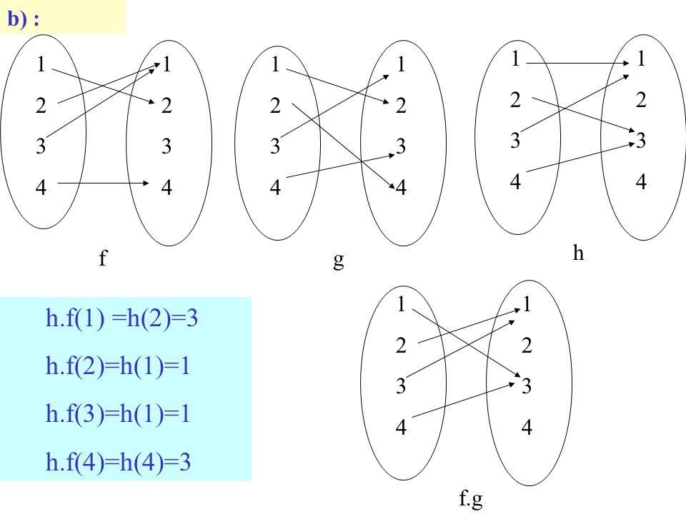 b) : 12341234 12341234 f 12341234 12341234 g 12341234 12341234 h h.f(1) =h(2)=3 h.f(2)=h(1)=1 h.f(3)=h(1)=1 h.f(4)=h(4)=3 12341234 12341234 f.g