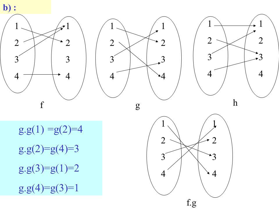 b) : 12341234 12341234 f 12341234 12341234 g 12341234 12341234 h g.g(1) =g(2)=4 g.g(2)=g(4)=3 g.g(3)=g(1)=2 g.g(4)=g(3)=1 12341234 12341234 f.g