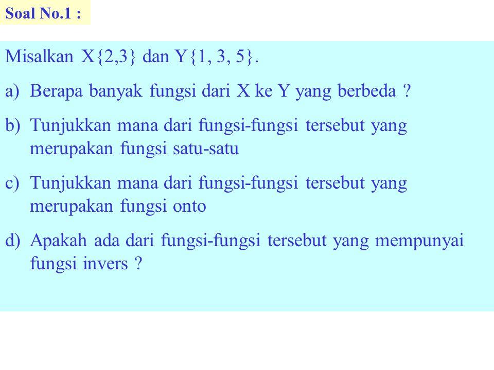 Soal No.1 : Misalkan X{2,3} dan Y{1, 3, 5}. a)Berapa banyak fungsi dari X ke Y yang berbeda ? b)Tunjukkan mana dari fungsi-fungsi tersebut yang merupa
