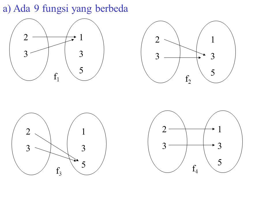 2323 135135 f1f1 2323 135135 f2f2 2323 135135 f3f3 2323 135135 f4f4 a) Ada 9 fungsi yang berbeda