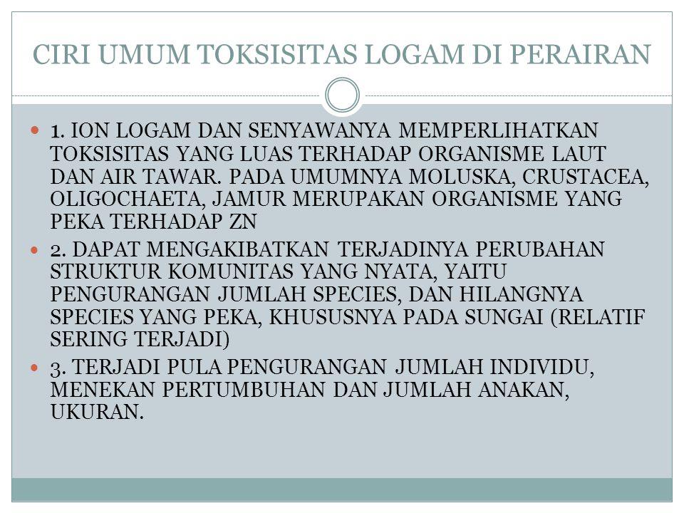 CIRI UMUM TOKSISITAS LOGAM DI PERAIRAN 1. ION LOGAM DAN SENYAWANYA MEMPERLIHATKAN TOKSISITAS YANG LUAS TERHADAP ORGANISME LAUT DAN AIR TAWAR. PADA UMU