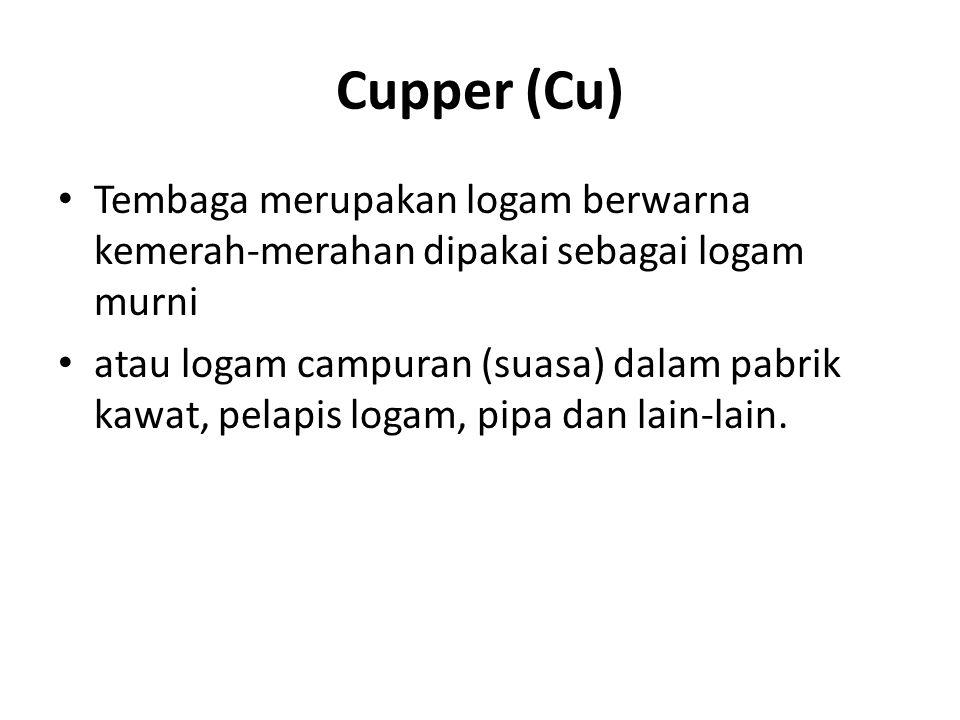 Cupper (Cu) Tembaga merupakan logam berwarna kemerah-merahan dipakai sebagai logam murni atau logam campuran (suasa) dalam pabrik kawat, pelapis logam