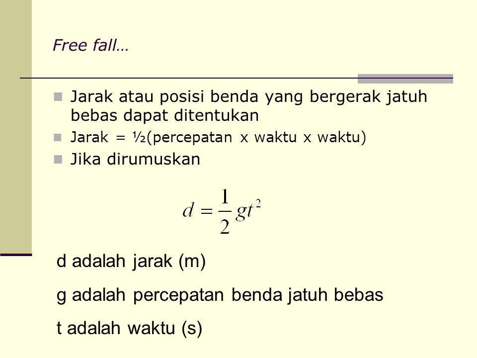 Free fall… Jarak atau posisi benda yang bergerak jatuh bebas dapat ditentukan Jarak = ½(percepatan x waktu x waktu) Jika dirumuskan d adalah jarak (m)
