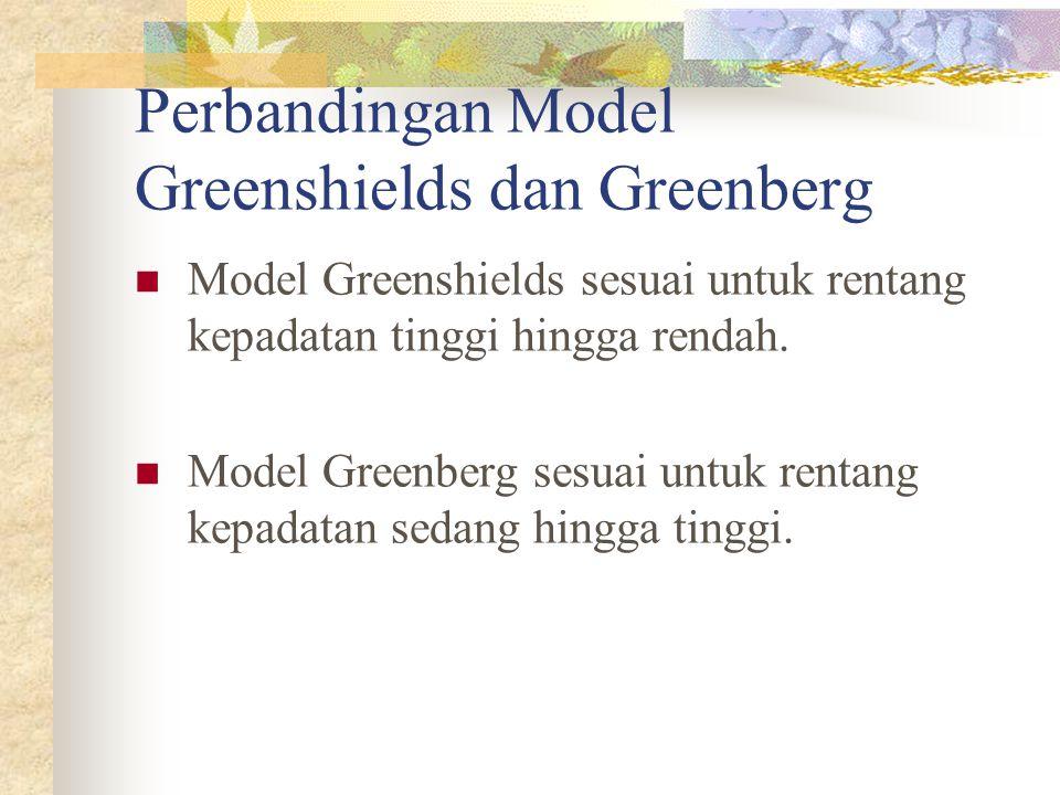Perbandingan Model Greenshields dan Greenberg Model Greenshields sesuai untuk rentang kepadatan tinggi hingga rendah. Model Greenberg sesuai untuk ren
