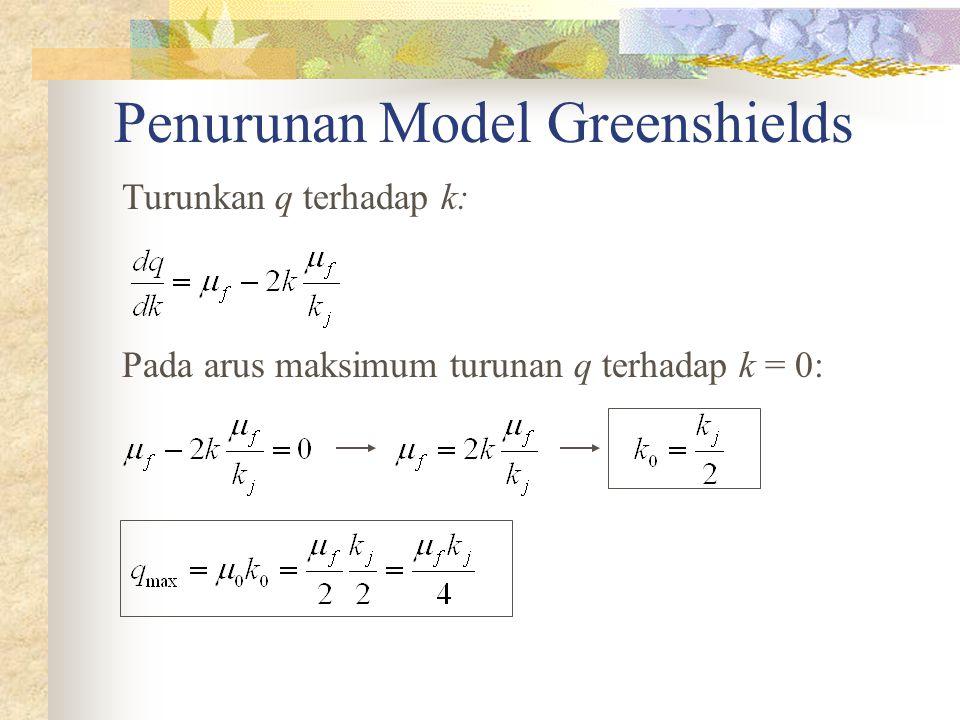 Penurunan Model Greenshields Turunkan q terhadap k: Pada arus maksimum turunan q terhadap k = 0: