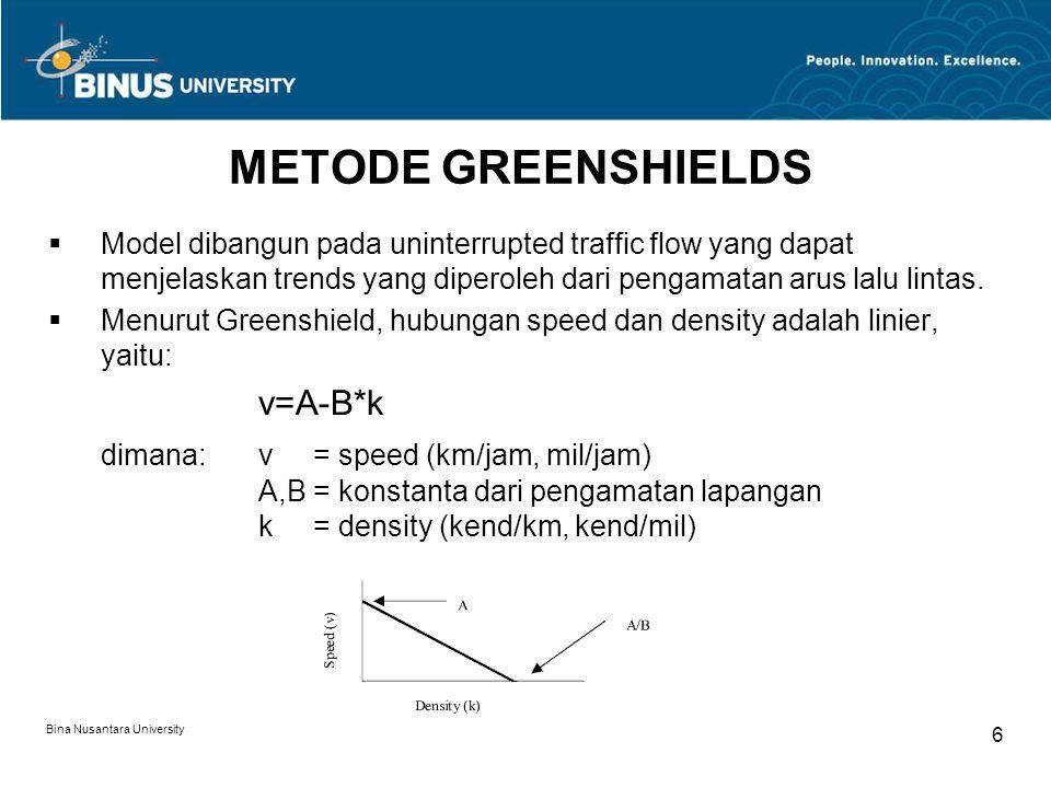 Bina Nusantara University 7 METODE GREENSHIELDS  Konstanta A dan B diperoleh dari data velocity (=kecepatan) dan kerapatan melalui pengamatan lapangan, plotting data tersebut, dan gunakan regresi linier untuk mendapatkan garis regresi.