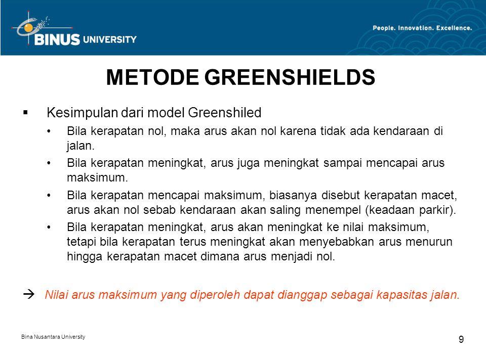 Bina Nusantara University 9 METODE GREENSHIELDS  Kesimpulan dari model Greenshiled Bila kerapatan nol, maka arus akan nol karena tidak ada kendaraan