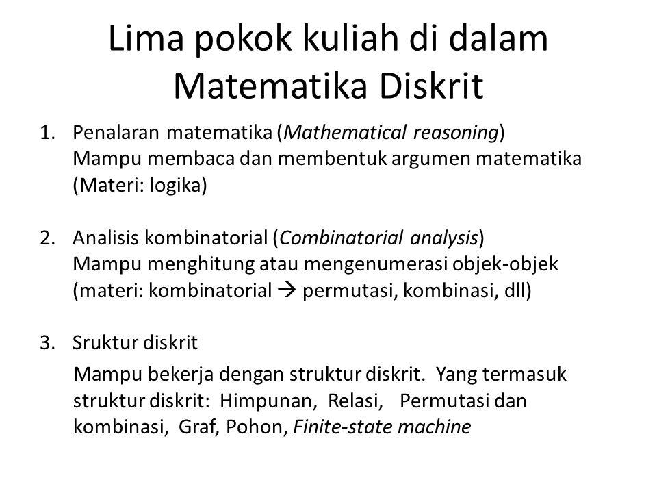 Lima pokok kuliah di dalam Matematika Diskrit 1.Penalaran matematika (Mathematical reasoning) Mampu membaca dan membentuk argumen matematika (Materi: