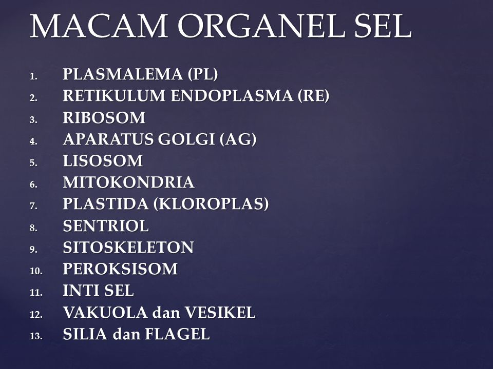 1. PLASMALEMA (PL) 2. RETIKULUM ENDOPLASMA (RE) 3. RIBOSOM 4. APARATUS GOLGI (AG) 5. LISOSOM 6. MITOKONDRIA 7. PLASTIDA (KLOROPLAS) 8. SENTRIOL 9. SIT