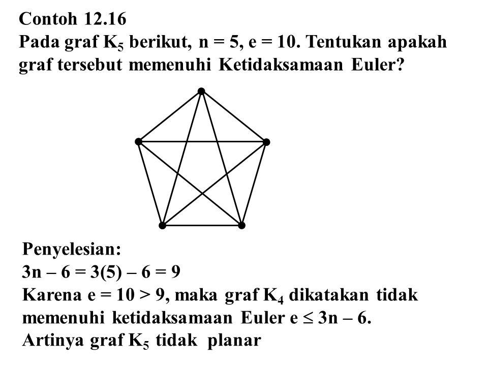 Contoh 12.16 Pada graf K 5 berikut, n = 5, e = 10. Tentukan apakah graf tersebut memenuhi Ketidaksamaan Euler? Penyelesian: 3n – 6 = 3(5) – 6 = 9 Kare