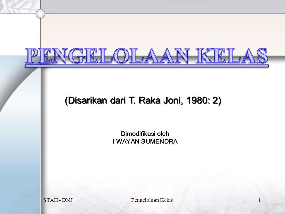 (Disarikan dari T. Raka Joni, 1980: 2) Dimodifikasi oleh I WAYAN SUMENDRA STAH - DNJ1Pengelolaan Kelas