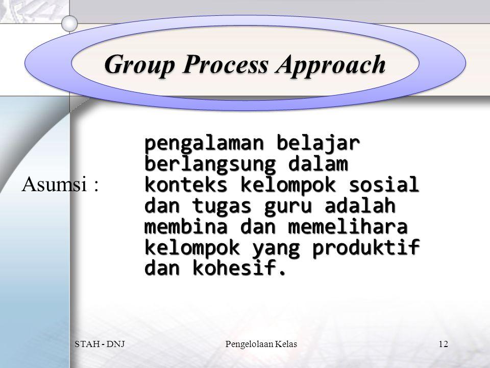 Group Process Approach Asumsi : pengalaman belajar berlangsung dalam konteks kelompok sosial dan tugas guru adalah membina dan memelihara kelompok yang produktif dan kohesif.