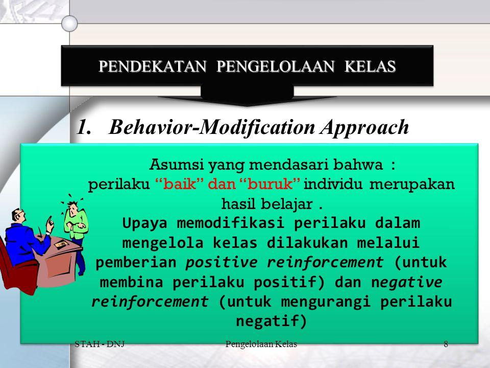 PENDEKATAN PENGELOLAAN KELAS 1.Behavior-Modification Approach Asumsi yang mendasari bahwa : perilaku baik dan buruk individu merupakan hasil belajar.