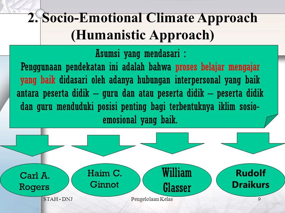 2. Socio-Emotional Climate Approach (Humanistic Approach) Asumsi yang mendasari : Penggunaan pendekatan ini adalah bahwa proses belajar mengajar yang