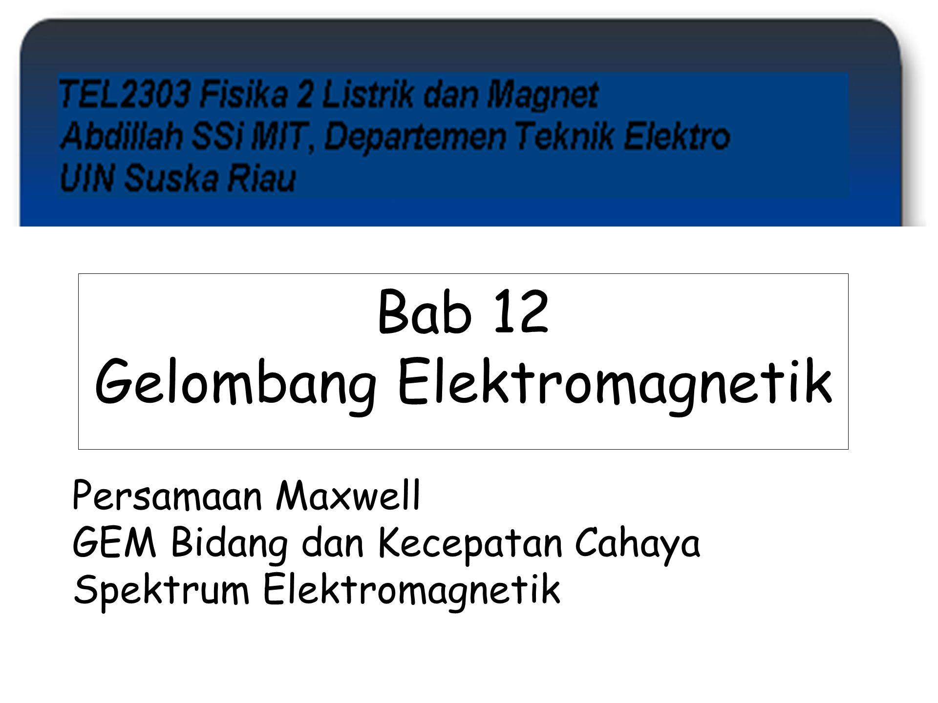 Persamaan Maxwell GEM Bidang dan Kecepatan Cahaya Spektrum Elektromagnetik Bab 12 Gelombang Elektromagnetik