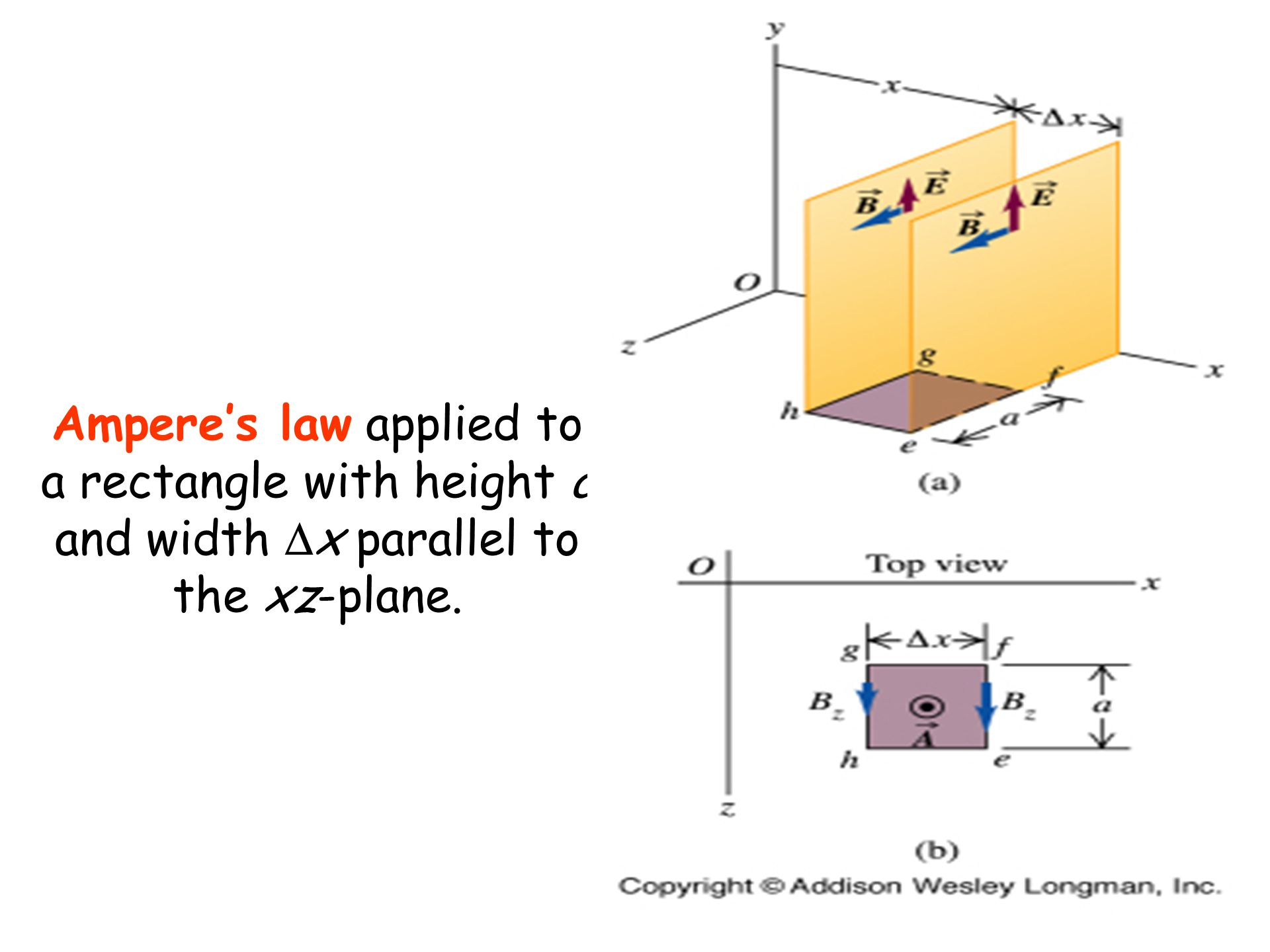 Ampere's law applied to a rectangle with height a and width  x parallel to the xz-plane.