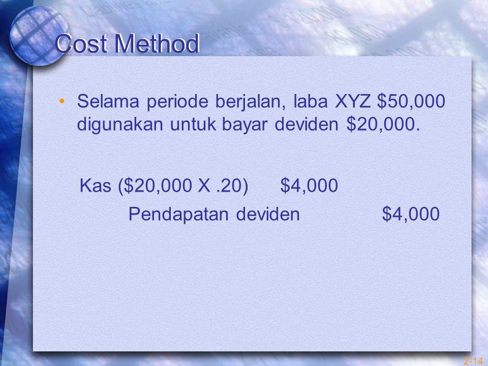 2-14 Cost Method Selama periode berjalan, laba XYZ $50,000 digunakan untuk bayar deviden $20,000.