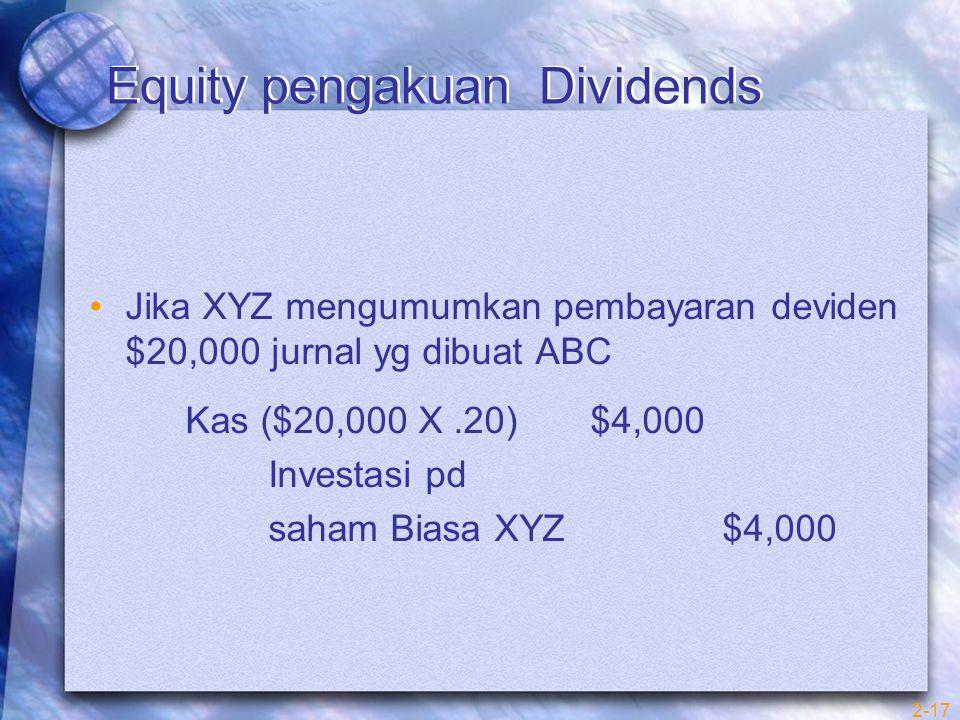 2-17 Equity pengakuan Dividends Jika XYZ mengumumkan pembayaran deviden $20,000 jurnal yg dibuat ABC Kas ($20,000 X.20) $4,000 Investasi pd saham Biasa XYZ $4,000