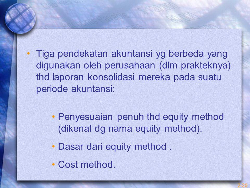 2-20 Tiga pendekatan akuntansi yg berbeda yang digunakan oleh perusahaan (dlm prakteknya) thd laporan konsolidasi mereka pada suatu periode akuntansi: Penyesuaian penuh thd equity method (dikenal dg nama equity method).