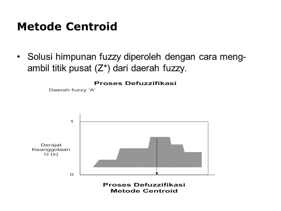 Metode Centroid Solusi himpunan fuzzy diperoleh dengan cara meng- ambil titik pusat (Z*) dari daerah fuzzy.