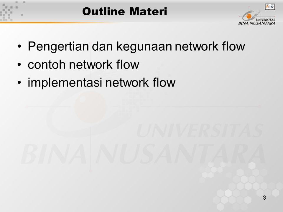 3 Outline Materi Pengertian dan kegunaan network flow contoh network flow implementasi network flow