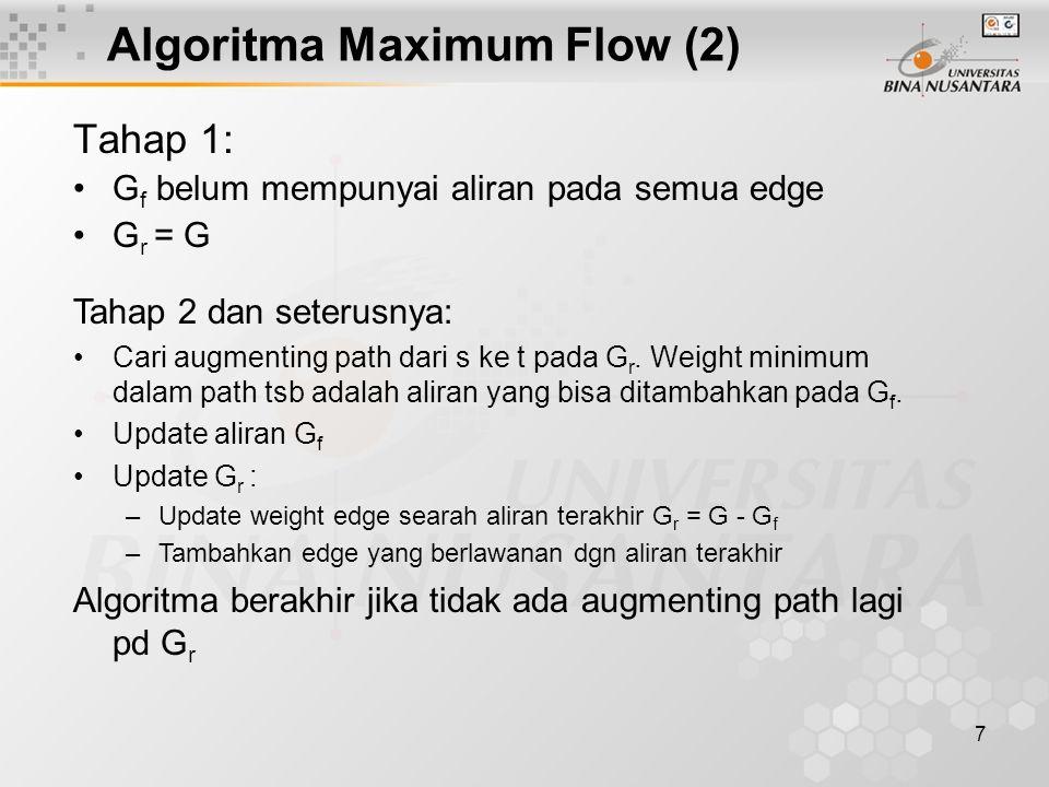 6 Algoritma Maximum Flow (1) Diperlukan 3 graph: graph asal, flow graph G f dan residual graph G r Graph asal Maxflow Graph G f Residual Graph G r s ab c d t 23 4 1 23 23 s ab cd t 00 0 0 00 00 s ab cd t 23 4 1 23 23 Pada tahap terakhir weight menyatakan aliran maksimum; graph menjadi maximum flow graph weight menyatakan aliran yang telah terbentuk sampai tahap tertentu Weight menyatakan sisa aliran yang belum terpakai dan dapat ditambahkan pada flow graph (G r =G – G f )
