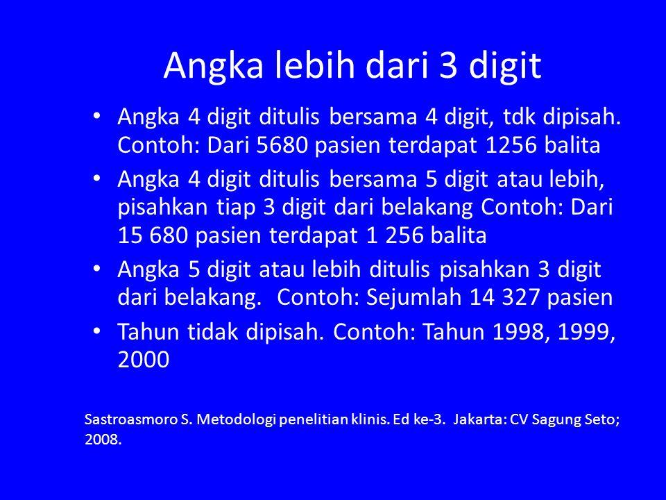 Angka lebih dari 3 digit Angka 4 digit ditulis bersama 4 digit, tdk dipisah. Contoh: Dari 5680 pasien terdapat 1256 balita Angka 4 digit ditulis bersa