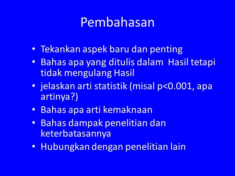 Pembahasan Tekankan aspek baru dan penting Bahas apa yang ditulis dalam Hasil tetapi tidak mengulang Hasil jelaskan arti statistik (misal p<0.001, apa