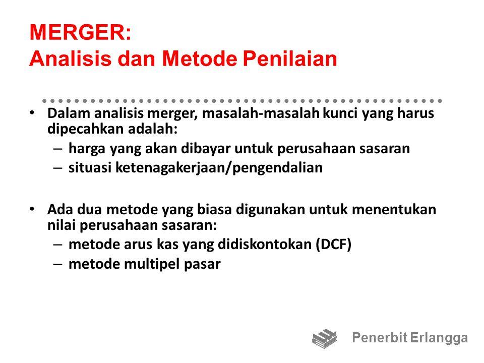 MERGER: Analisis dan Metode Penilaian Dalam analisis merger, masalah-masalah kunci yang harus dipecahkan adalah: – harga yang akan dibayar untuk perus