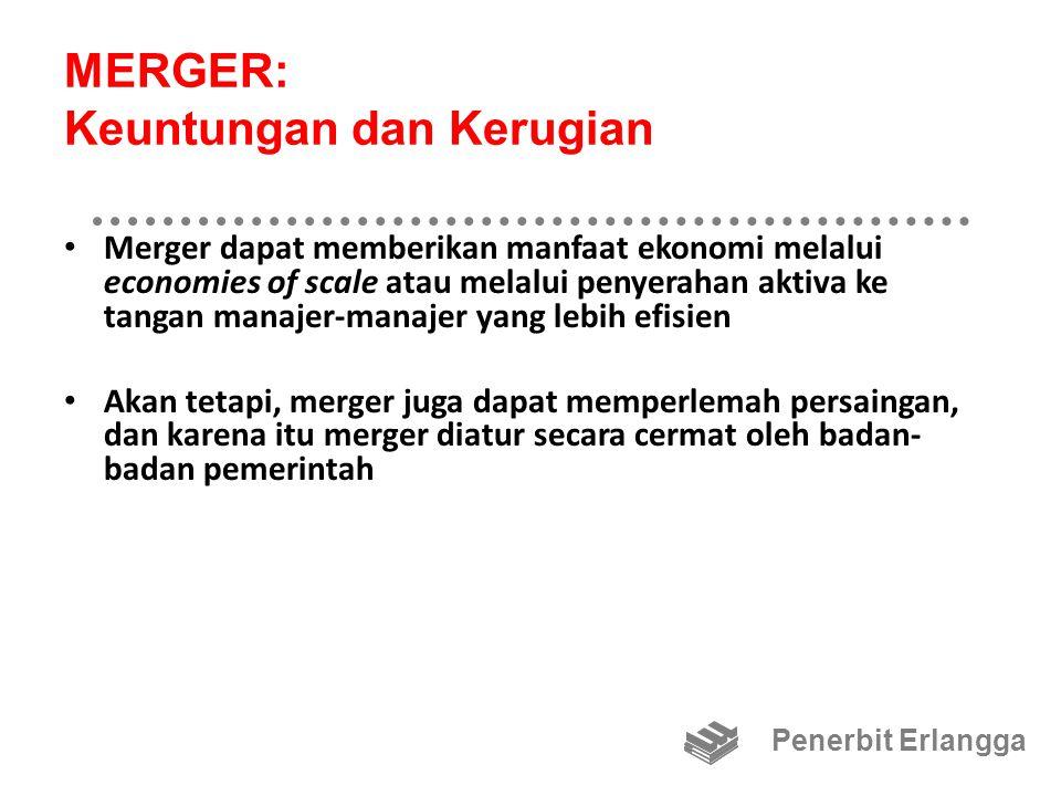 MERGER: Horisontal dan Vertikal Merger horisontal: dua perusahaan dalam bidang usaha yang sama bergabung Merger vertikal: penggabungan satu perusahaan dengan salah satu pelanggan atau pemasoknya Penerbit Erlangga
