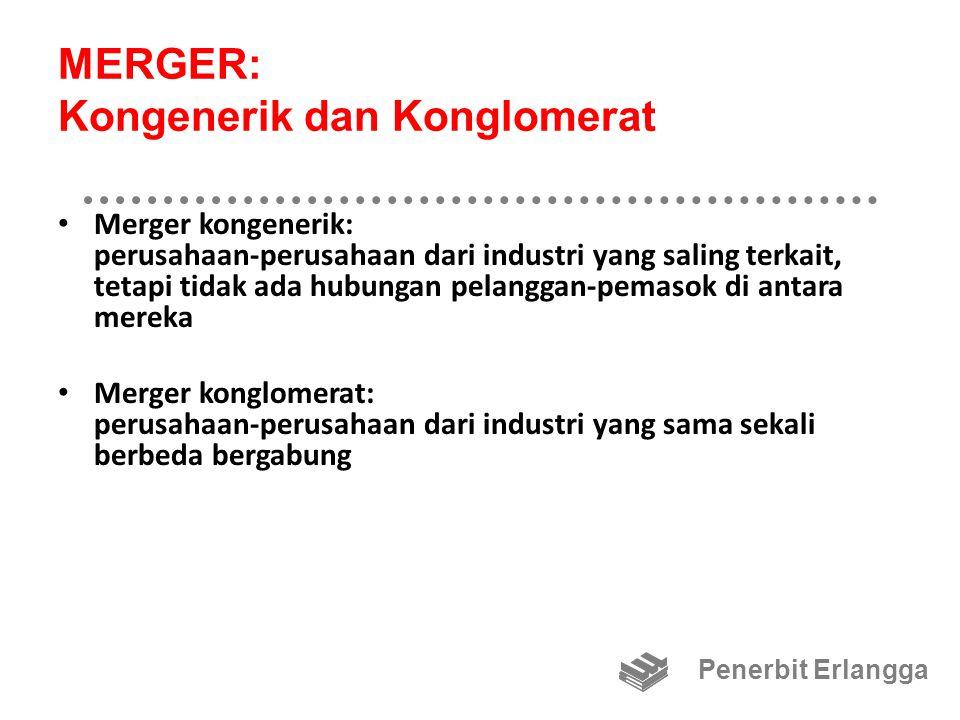 MERGER: Sukarela dan Paksa Merger sukarela: manajemen kedua perusahaan sama-sama menyetujui merger tersebut Merger secara paksa: manajemen perusahaan sasaran menolak rencana merger Penerbit Erlangga