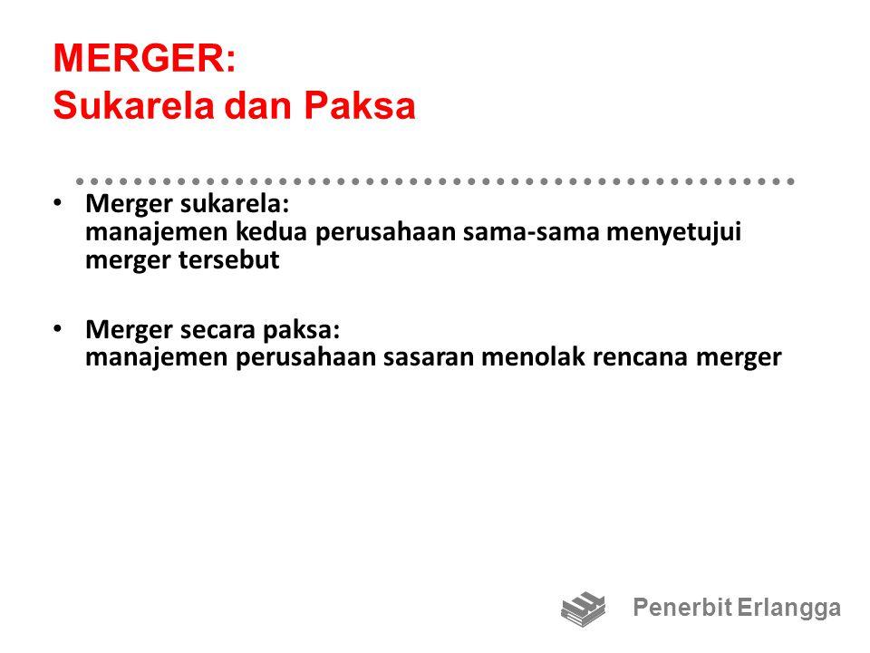 MERGER: Sukarela dan Paksa Merger operasi: operasi dari dua perusahaan digabung Merger keuangan: dua perusahaan tetap beroperasi secara terpisah, dan karena itu tidak diharapkan adanya penghematan operasi Penerbit Erlangga