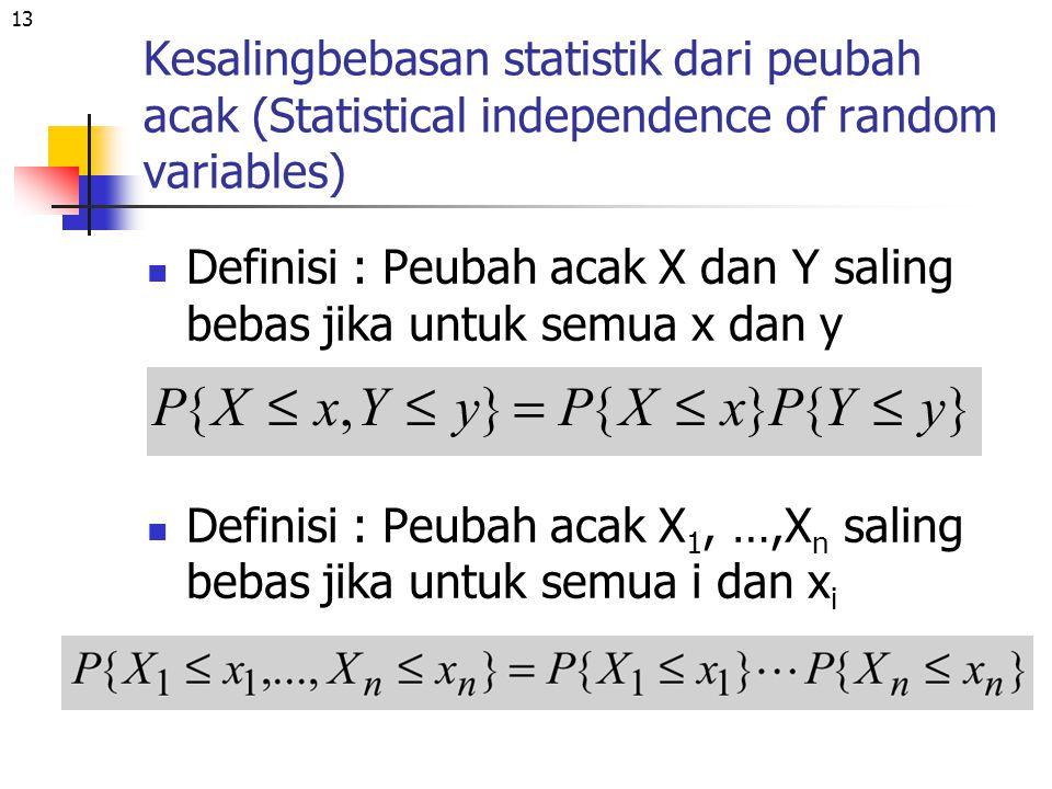 13 Kesalingbebasan statistik dari peubah acak (Statistical independence of random variables) Definisi : Peubah acak X dan Y saling bebas jika untuk se