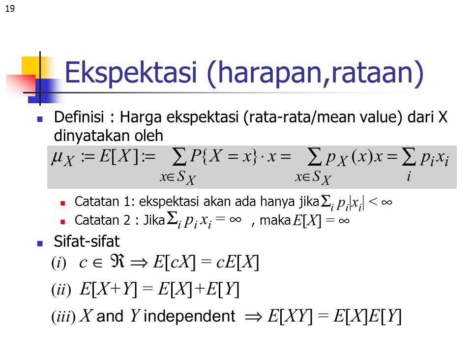 19 Ekspektasi (harapan,rataan) Definisi : Harga ekspektasi (rata-rata/mean value) dari X dinyatakan oleh Catatan 1: ekspektasi akan ada hanya jika Cat