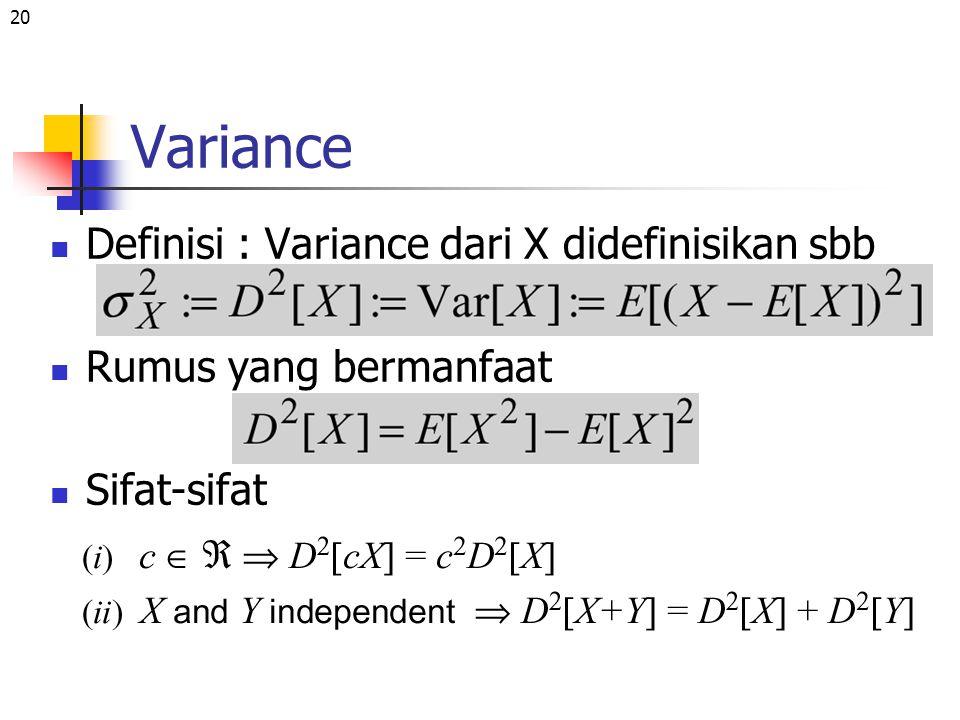20 Variance Definisi : Variance dari X didefinisikan sbb Rumus yang bermanfaat Sifat-sifat