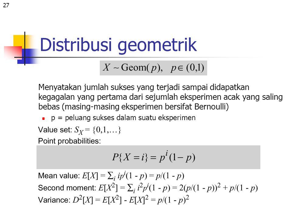27 Distribusi geometrik Menyatakan jumlah sukses yang terjadi sampai didapatkan kegagalan yang pertama dari sejumlah eksperimen acak yang saling bebas